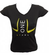 T-SHIRT LIGA ONE BY JUL FEMME NOIR JAUNE DORE
