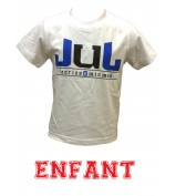 T-SHIRT  JUL 135  ENFANT BLANC BLEU PETROLE PARANOIA