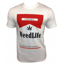 T-SHIRT RIMK WEED LIFE BLANC