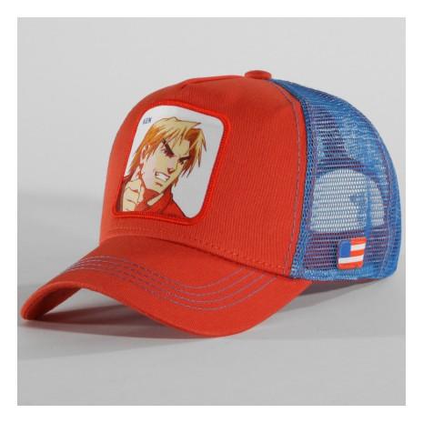 Street Fighter - Casquette Trucker Ken Orange Bleu Clair