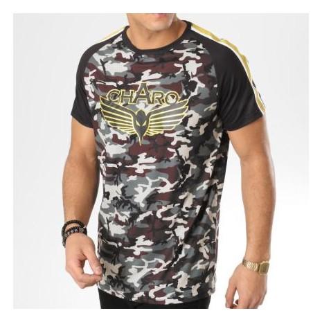 Charo - Tee Shirt Avec Bandes Ood Vert Kaki Camouflage