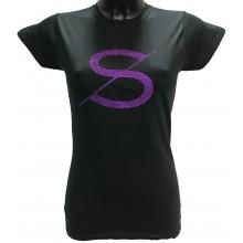Tshirt femme SCH noir logo violet