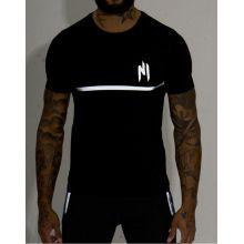 T-shirt NINHO Full noir bande blanche