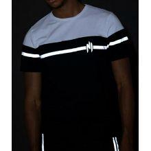 T-shirt NINHO mi-blanc mi-noir bande REFLECTOR