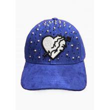 CASQUETTE COEUR PIQUÉ BLUE STRASS HEART